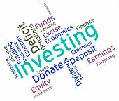 Investing Word Representing Return On Investment And Opportunity Text poster
