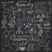 Chemistry and sciense elements doodles icons set. Hand drawn sketch with microscope formulas experiments equpment analysis tools vector illustration on chalkboard background. poster