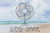 summer heat waves: keep cool electric fan design poster