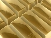 3d gold bars close up of bank or business poster