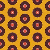 Pattern Music Vinyl Disc over Yellow. Flat Style Vector Seamless Texture Background. Musical Template. Retro Vintage Vinyl Record poster
