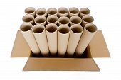 cylinder paper tube with brown carton box isolated on white background poster
