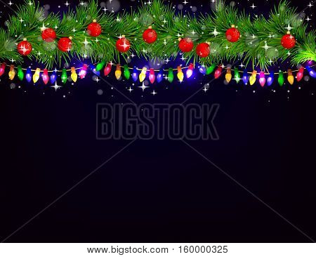 Christmas and happy new year background with red Christmas balls sparkles and Christmas tree. eps10