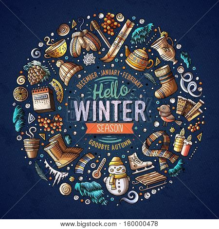 Colorful vector hand drawn set of Winter cartoon doodle objects, symbols and items. Round frame composition