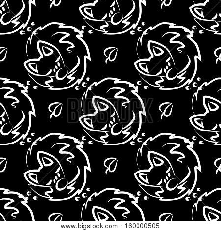 Fox seamless monochrome pattern. Graphic tile. Print with cute symbol fox. Endless texture. Design textile. Elegance wallpaper with silhouette pets. on black background