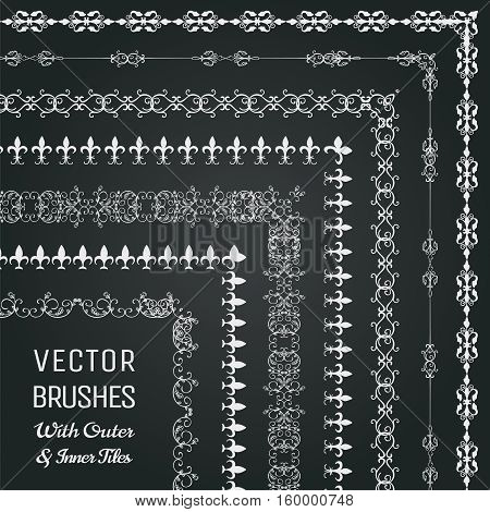 Collection of Vector Pattern Brushes with Outer and Inner Tiles. Chalk Drawing Outlined Hand Drawn Vintage Seamless Line Borders, Frames, Corners on Chalkboard Texture. Vector Illustration