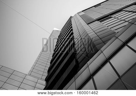 Skyscrapper building. Steel and glass. Black and white image