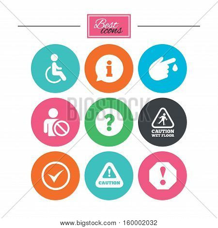 Attention notification icons. Question mark and information signs. Injury and disabled person symbols. Colorful flat buttons with icons. Vector