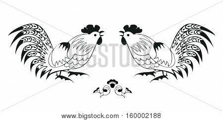 Fighting cocks on a white background. Symbol of Chinese horoscope and folklore personage. Vector illustration suitable as part of the ornament, design elements for  decoration, etc. Horizontal.