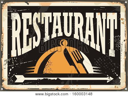 Restaurant vintage tin sign on old black background. Retro vector poster design with knife and fork in negative space.