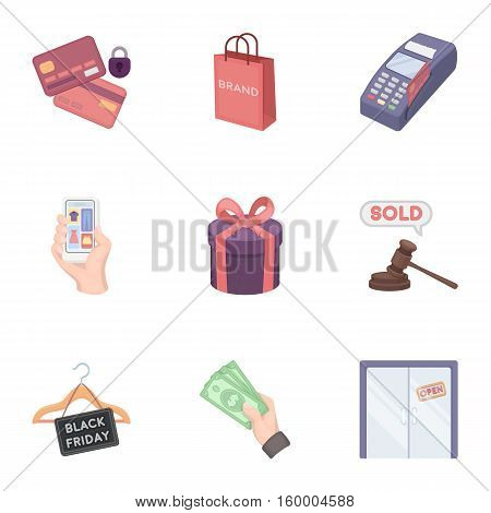 E-commerce set icons in cartoon style. Big collection of e-commerce vector symbol stock