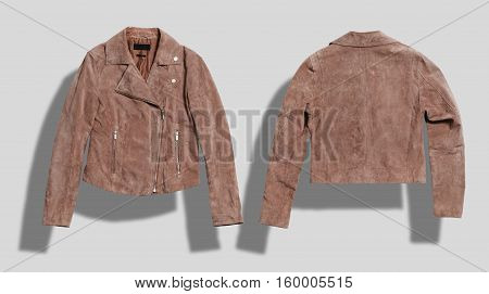 Soft camel suede leather jacket shot from the front and the back on white background