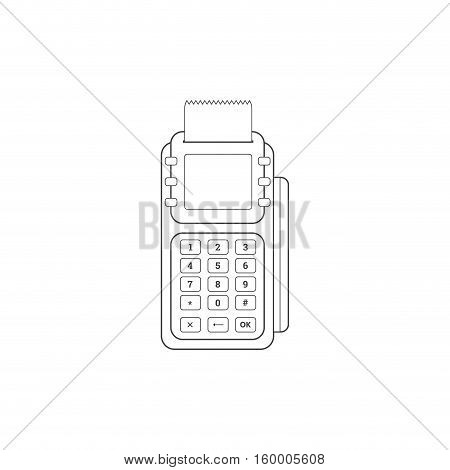 POS Credit Card Terminal Line Icon On White Background. E-commerce. Vector illustration