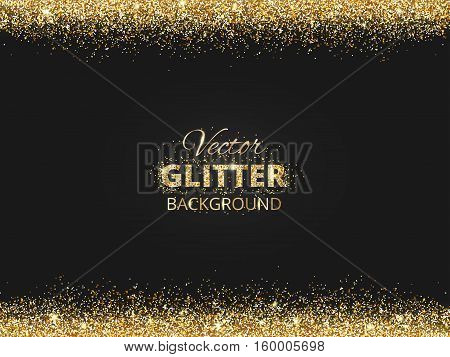 Black and gold background with glitter border and space for text. Vector glitter frame, golden dust. Great for christmas and birthday cards, wedding invitation, party posters and flyers.