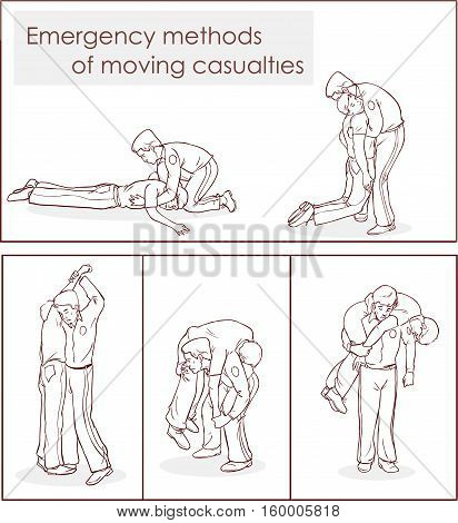 vector illustration of a emergency methods of moving casualties