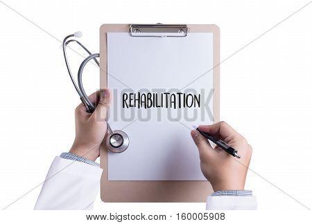 REHABILITATION Modern rehabilitation physiotherapy REHABILITATION Concept Physio Physiotherapy and Rehabilitation Treatment Electrostimulation treatment and rehabilitation. Physiotherapist poster