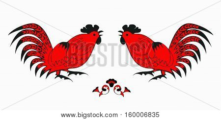Fighting of red roosters on a white background. Symbol of Chinese horoscope and folklore personage. Vector illustration suitable as part of the ornament, design elements for  decoration, etc.