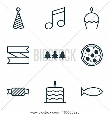 Set Of 9 New Year Icons. Can Be Used For Web, Mobile, UI And Infographic Design. Includes Elements Such As Blank, Cake, Note And More.