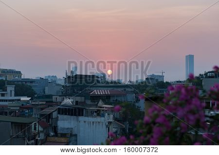 Sunset over the Imperial city Hue, Vietnam