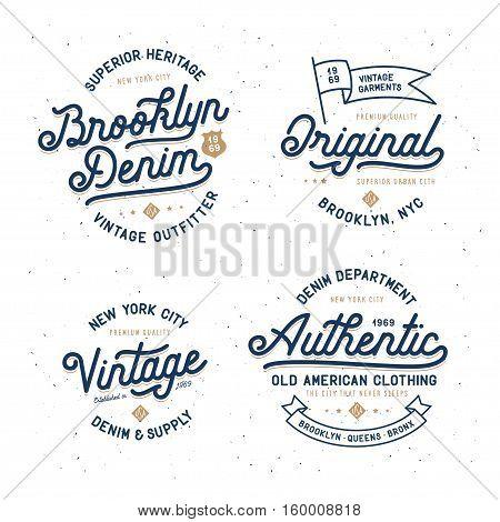 Denim typography t-shirt design set. Lettering elements for posters, prints. Hipster apparel design. Vector vintage illustration.