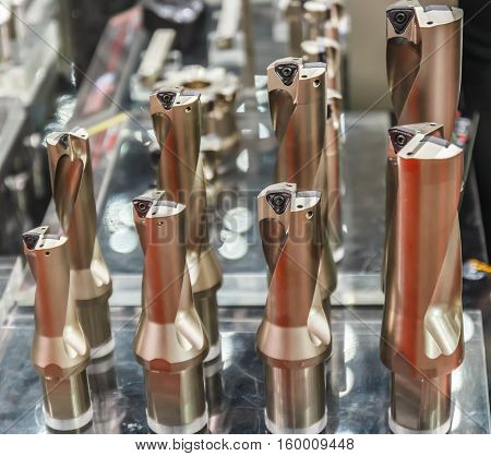 Metal drill bits in the stand. close up