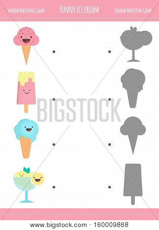 Matching game with ice cream cones for preschool children. Find the correct shadow. Ice cream in flat style isolated on white background. Vector illustration for children.