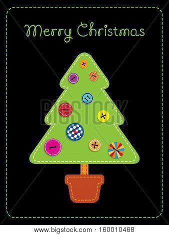 Vector illustration imitating fabric applique. Christmas tree in a pot decorated with clothing buttons. Vertical format black background.