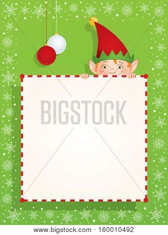 Vector cartoon illustration of a Christmas Elf hiding behind a blank banner. Place for text on a white background. Vertical format.