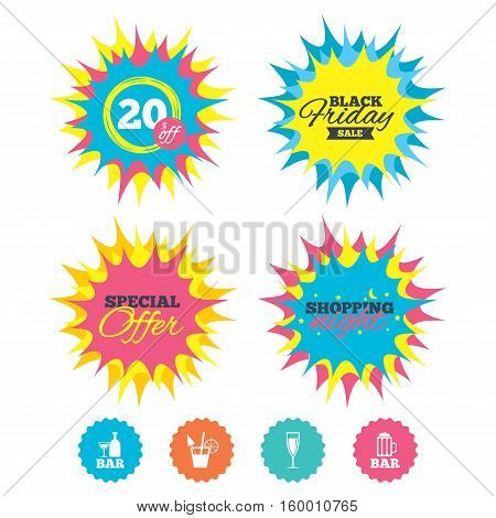Shopping night, black friday stickers. Bar or Pub icons. Glass of beer and champagne signs. Alcohol drinks and cocktail symbols. Special offer. Vector