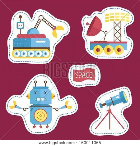 Space cartoon stickers. Exploration rovers, angry robot with claws, telescope on stand vector illustrations isolated on red background. Counters or tokens for table games, price tags