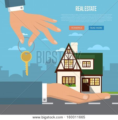 Real estate agent with house model and key vector illustration. Commercial background. Real estate business concept with house. Family dream home. Trading house.