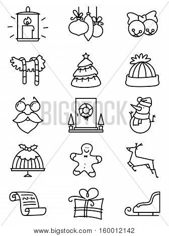 Set with thin simply Christmas icons set. Minimalistic design in black and white colors. Winter holidays decorations and characters