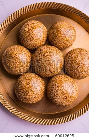 Til ke Ladoo or Til laddu or sesame sweet laddu