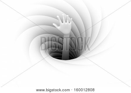 the hand sticking out of a black hole background 3d illustration