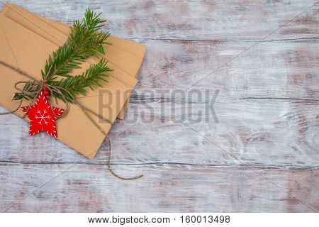 Christmas Letters On Wooden Background. Space For Your Text