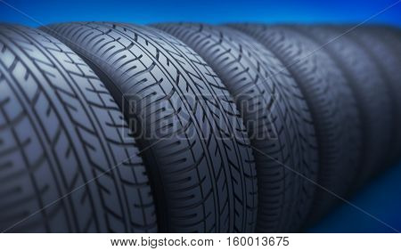 Row of car wheels and tires. 3d illustration