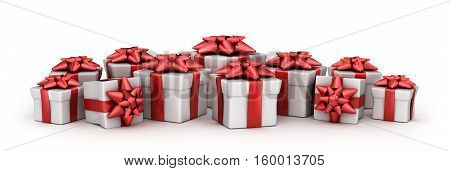 Many gift boxes and white background. 3d illustration