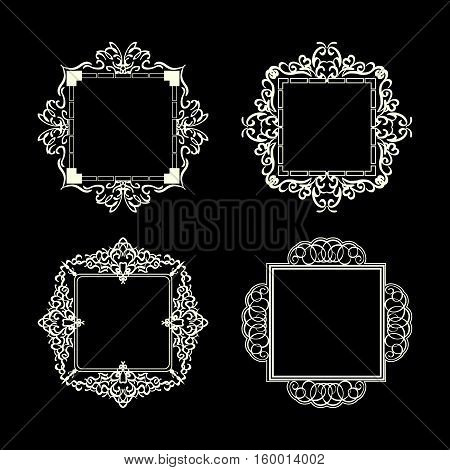 Rosette wicker border collection in vector.  Business flourish signs for classic logo. Motifs frames and ornate elements on black.