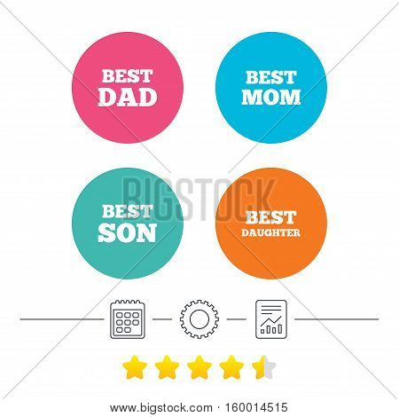 Best mom and dad, son and daughter icons. Award symbols. Calendar, cogwheel and report linear icons. Star vote ranking. Vector