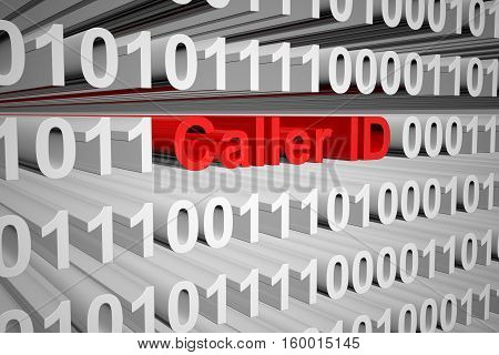 Caller ID in the form of binary code, 3D illustration