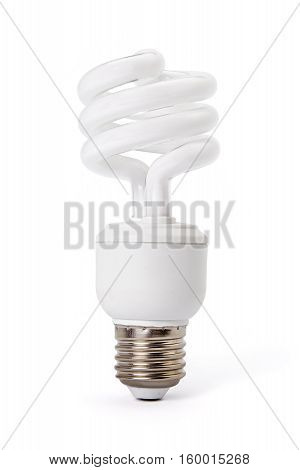 White energy saving compact fluorescent light bulb isolated on white background