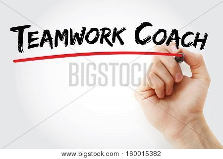 Hand Writing Teamwork Coach With Marker