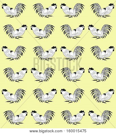 Seamless pattern with cocks on a yellow background. Roosters  are drawn by hand. Symbol of Chinese horoscope 2017, zodiac sign and folklore personage. Vector illustration. Vertical location.