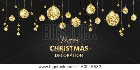 Christmas banner with glitter decoration. Black and gold background with hanging christmas balls. Great for christmas cards, christmas party posters, banners, headers. Eps10 vector illustration.