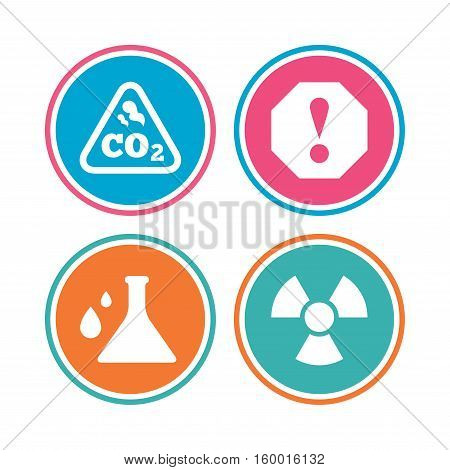 Attention and radiation icons. Chemistry flask sign. CO2 carbon dioxide symbol. Colored circle buttons. Vector