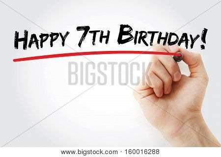 Hand Writing Happy 7Th Birthday With Marker