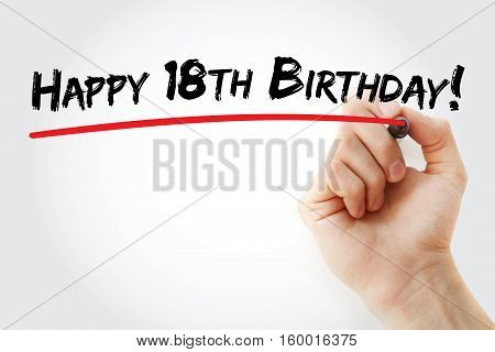 Hand Writing Happy 18Th Birthday With Marker
