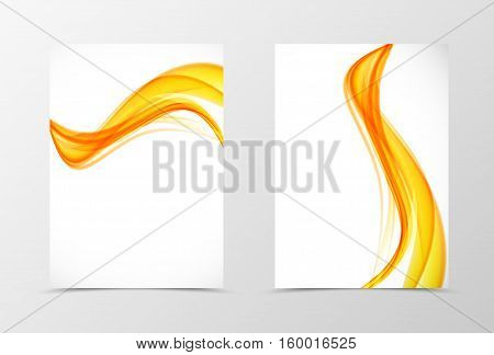 Front and back wave flyer template design. Abstract template with orange smokes in soft style. Vector illustration
