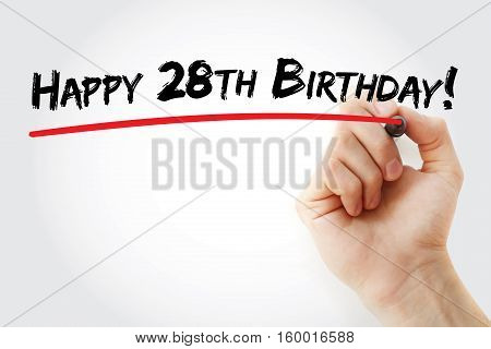 Hand Writing Happy 28Th Birthday With Marker
