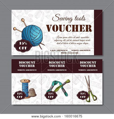 Sewing discount. Voucher for your business in sketch style. Modern template with sewing devices.